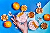 Orangensorbet und Blutorangen