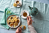 Tea and flower biscuits