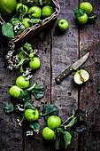 Stillleben mit Äpfeln der Sorte 'Bramley' auf Holzuntergrund (Aufsicht)