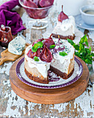 Blue cheese cheesecake with red wine poached pears
