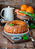 Carrot and orange cake with salted caramel