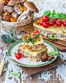 Potato puree bake with mushrooms