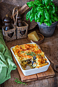 Potato puree bake with mushrooms