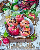 Baked apples stuffed with oats, raisins and honey