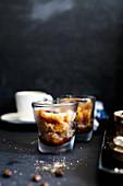 Coffee granita in glasses