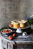 Lemon poppy cake with rhubarb