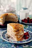 Crepe cake with lemon cream
