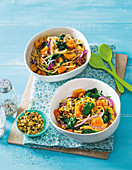 Roasted pumpkin and spinach pasta with seed mix