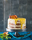 Passion fruit yoghurt and cake with white chocolate ganache