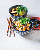 Mussels in coconut and sriracha sauce with rice noodles