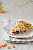A slice of pear tart with cranberries