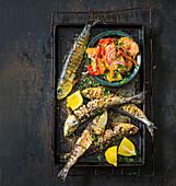 Sicilian grilled sardines with panzanella