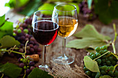 Glass of white and red wine with grapes