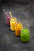 Smoothies: Blueberry; mango; orange, banana and turmeric, and avocado and kale