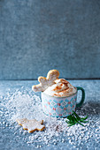 Homemade shortbread biscuits and hot chocolate with cream for Christmas