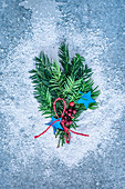 Christmas pine tree branches decoration, view from above