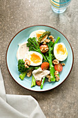 Tenderstem and egg salad with hummus