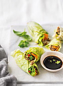 Cabbage and spicy beef wraps