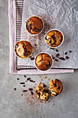 Orange and dark choc-chip muffins