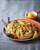 Lemon zest spaghetti with herb crumbs