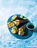 Temaki sushi with shrimps and peppers