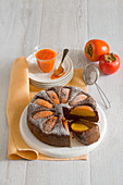 Almond and chocolate cake with persimmons