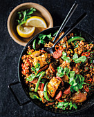 Barley paella with seafood