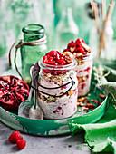 Chia Bircher with Granola and Pomegranate