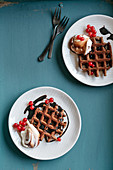 Chocolate waffles with mascarpone cream, and cognac and cocoa syrup