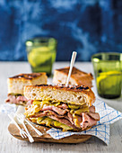 Cubano sandwich with rum onions