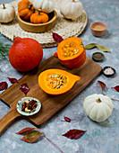 Hokkaido pumpkins and white pumpkins