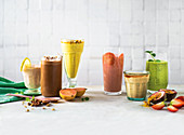 Colorful smoothies with fruits and veggie