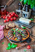 Baked eggplants with mozzarella cheese and tomato sauce