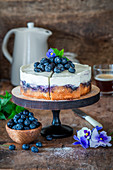 Cake with sour cream and blueberries