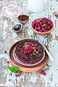 Baked chocolate ganache and raspberry pie
