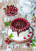 Chocolate and vanilla buttercream cake with raspberries