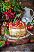 Apple cake with apple jelly, cream cheese ans salted caramel