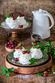 Gooseberry mini pavlovas with cream