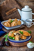 Eggplant and pork hand pies