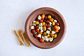 Vegetarian tomato tagine with feta cheese