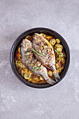 Seabream with a pepper and potato medley made in a tagine