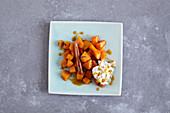 Vegan orange and pumpkin medley with walnut cream from Turkey