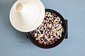 Chocolate and cherry clafoutis made in a tagine