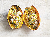 Stuffed spaghetti squash with bacon and cheese