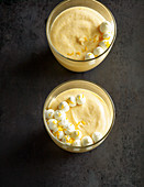 Lemon and pumpkin mousse with piped cream
