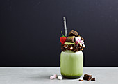 Freak Shake - Matcha Milkshake with chocolate brownie bites