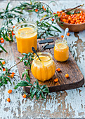 Sea buckthorn curd in glasses