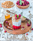 Chia pudding with raspberry puree