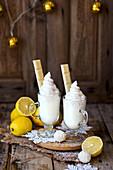 White hot chocolate with lemon caramel