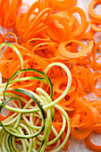 Courgette and carrot spirals